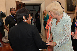 © Licensed to London News Pictures. 14/07/2016. HRH the Duchess of Cornwall meets BARONESS LAWRENCE OF CLARENDON at the inaugural Commonwealth Women's Leader's Summit at Marlborough House.  London, UK. Photo credit: Ray Tang/Baroness Lawrence of Clarendon