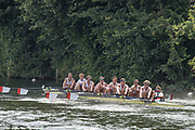 """Henley on Thames, United Kingdom, 4th July 2018, Wednesday, View, Heat of the """"Temple Challenge Cup"""", Orange Coast College, USA, first day of the annual,  """"Henley Royal Regatta"""", Henley Reach, River Thames, Thames Valley, England, © Peter SPURRIER,"""