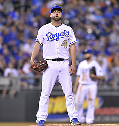 May 12, 2017 - Kansas City, MO, USA - Kansas City Royals starting pitcher Danny Duffy stands on the mound after a wild pitch allowed Baltimore Orioles' Caleb Joseph to score in the seventh inning on Friday, May 12, 2017 at Kauffman Stadium in Kansas City, Mo. (Credit Image: © John Sleezer/TNS via ZUMA Wire)