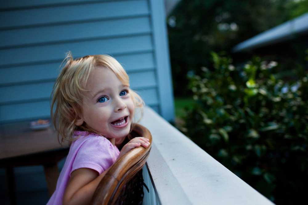 Madelyn Avery Eich, 2, acts goofy on her family's front porch on the afternoon of Saturday, September 11, 2010 at their home in Norfolk, Virginia.