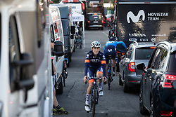 Movistar Women's Team riders prepare for La Course by Le Tour de France, a 121 km road race starting and finishing in Pau, France on July 19, 2019. Photo by Balint Hamvas/velofocus.com