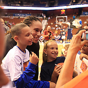 Brittney Griner, Phoenix Mercury, signs autographs for fans before the Connecticut Sun V Phoenix Mercury, WNBA regular season game at Mohegan Sun Arena, Uncasville, Connecticut, USA. 29th June 2013. Photo Tim Clayton