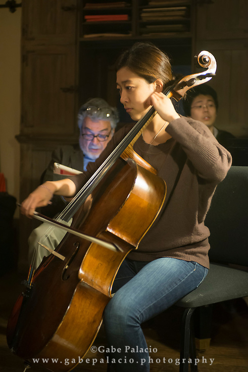 Rehearsals by the Evnin Rising Stars and distinguished artist Leon Fleisher at Caramoor in Katonah New York on October 21, 2014. <br /> (photo by Gabe Palacio)