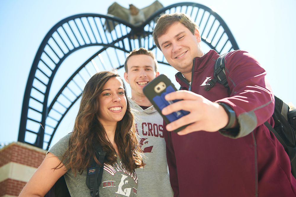 Activity; Smiling; Socializing; Buildings; Roger Harring Stadium; Location; Outside; Bryce Hartl; Katie Rascher; Josh Stanke; People; Woman Women; Man Men; Student Students; Spring; May; Time/Weather; sunny; Type of Photography; Candid; Lifestyle; UWL UW-L UW-La Crosse University of Wisconsin-La Crosse; selfie