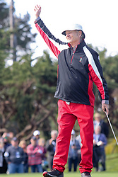 """Feb 6, 2019 Pebble Beach, Ca. USA TV, Film and singing stars that included BILL MURRAY whom played in the """"3M Celebrity Challenge"""" to try for part of the 100K purse to go to their favorite charity and win the Estwood-Murray cup, for which team Clint Eastwwod's group won.. The event took place during practice day of the PGA AT&T National Pro-Am golf on the Pebble Beach Golf Links. Photo by Dane Andrew c. 2019 contact: 408 744-9017  TenPressMedia@gmail.com"""