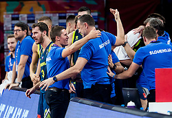 Jaka Lakovic, assistant coach of Slovenia and Rado Trifunovic, assistant coach of Slovenia celebrate during basketball match between National Teams of Slovenia and Spain at Day 15 in Semifinal of the FIBA EuroBasket 2017 at Sinan Erdem Dome in Istanbul, Turkey on September 14, 2017. Photo by Vid Ponikvar / Sportida