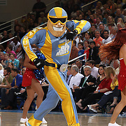 Chicago Sky Mascot SKY GUY entertains the crowd during a time out in the second half of an WNBA pre season basketball game between the Chicago Sky and the Washington Mystics Tuesday, May. 13, 2014 at The Bob Carpenter Sports Convocation Center in Newark, DEL