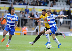 Cristian Montano of Bristol Rovers loses out to Readings's Anton Ferdinand and Reading's Niall Keown - Mandatory by-line: Neil Brookman/JMP - 21/07/2015 - SPORT - FOOTBALL - Bristol,England - Memorial Stadium - Bristol Rovers v Reading - Pre-Season Friendly