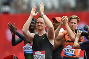 Greg Rutherford of Great Britain applauds the crowd as he is applauded by his fellow competitors during the Muller Anniversary Games, Day Two, at the London Stadium, London, England on 22 July 2018. Picture by Martin Cole.