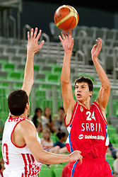 Vladimir Lucic of Serbia during friendly basketball match between National teams of Serbia and Croatia of Adecco Ex-Yu Cup 2012 as part of exhibition games 2012, on August 4, 2012, in Arena Stozice, Ljubljana, Slovenia. (Photo by Urban Urbanc / Sportida)