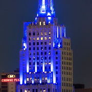 Kansas City's renovated Power & Light building with newly installed LED exterior lighting - August 2016.
