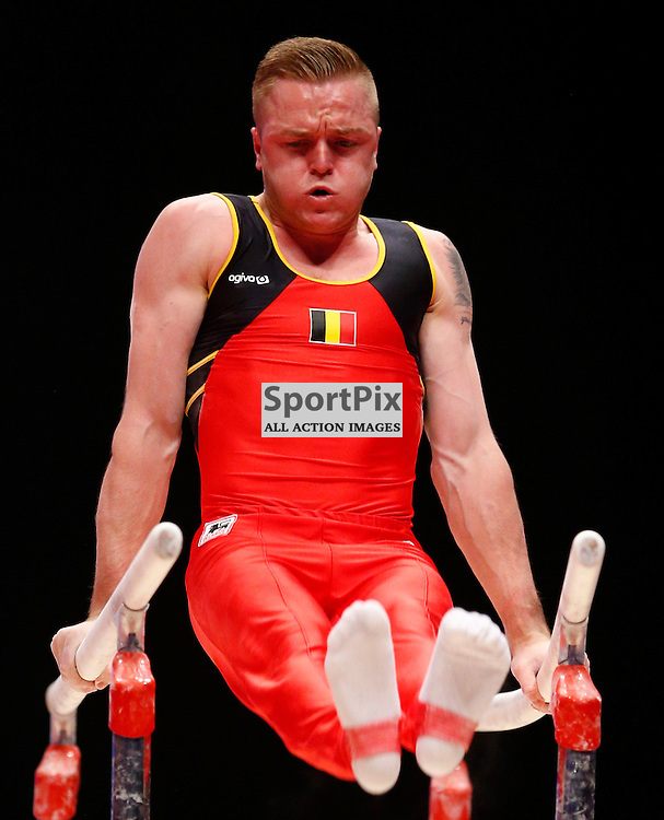 2015 Artistic Gymnastics World Championships being held in Glasgow from 23rd October to 1st November 2015.....Bram Louwije (Belgium) competing in the Parallel Bars competition..(c) STEPHEN LAWSON | SportPix.org.uk