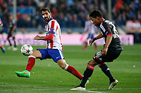 Atletico de Madrid´s Raul Garcia (L) and Bayer 04 Leverkusen´s Wendell during the UEFA Champions League round of 16 second leg match between Atletico de Madrid and Bayer 04 Leverkusen at Vicente Calderon stadium in Madrid, Spain. March 17, 2015. (ALTERPHOTOS/Victor Blanco)