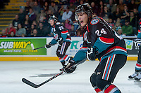 KELOWNA, CANADA - OCTOBER 19: Tyson Baillie #24 of the Kelowna Rockets calls for the puck against the Prince George Cougars on October 19, 2013 at Prospera Place in Kelowna, British Columbia, Canada.   (Photo by Marissa Baecker/Shoot the Breeze)  ***  Local Caption  ***