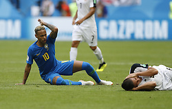 SAINT PETERSBURG, June 22, 2018  Neymar (L) of Brazil gestures for a foul against him during the 2018 FIFA World Cup Group E match between Brazil and Costa Rica in Saint Petersburg, Russia, June 22, 2018. Brazil won 2-0. (Credit Image: © Cao Can/Xinhua via ZUMA Wire)