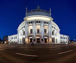 THEMENBILD - Burgtheater waehrend der Blauen Stunde. Es liegt am Universitaetsring, frueher Dr.-Karl-Lueger-Ring, und eroeffnete erstmals am 14. Oktober 1888. Es gilt als das oesterreichische Nationaltheater. Das Bild wurde am 15. April 2013 aufgenommen. im Bild Panoramaaufnahme Burgtheater // THEME IMAGE FEATURE - Burgtheater in Vienna at Twilight Hour, which is at the viennese ring road and opened on 14th, October 1888. The image was taken on april, 15th, 2013. Picture shows panoramic photo of Burgtheater, AUT, EXPA Pictures © 2013, PhotoCredit: EXPA/ Michael Gruber