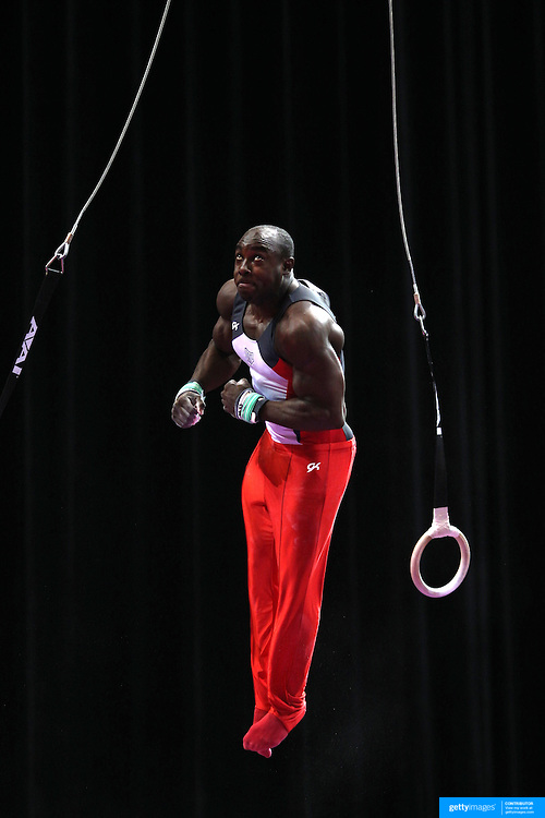 Donnell Whittenburg, Colorado Springs, Colorado, in action on the Still Rings during the Senior Men Competition at The 2013 P&G Gymnastics Championships, USA Gymnastics' National Championships at the XL, Centre, Hartford, Connecticut, USA. 16th August 2013. Photo Tim Clayton