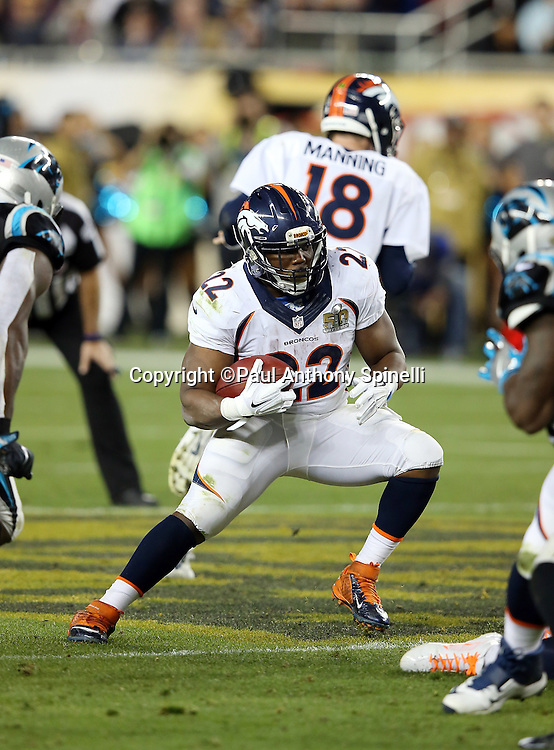 Denver Broncos running back C.J. Anderson (22) makes a hard cut as he runs the ball during the NFL Super Bowl 50 football game against the Carolina Panthers on Sunday, Feb. 7, 2016 in Santa Clara, Calif. The Broncos won the game 24-10. (©Paul Anthony Spinelli)