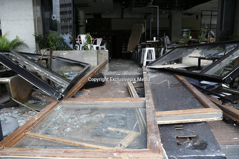 Jan. 13, 2016 - Jakarta, Jakarta, Indonesia - <br /> <br /> The wreckage of starbucks after the bimbing. Several terrorist attack starbucks cafe at sarinah-Jakarta, causing around 6 people dead. ©Exclusivepix Media