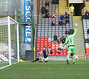 17th February 2018, Firhill Stadium, Glasgow, Scotland; Scottish Premier League Football, Partick Thistle versus Dundee; Simon Murray of Dundee scores for 1-1