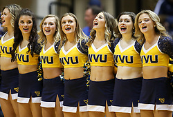 Feb 12, 2018; Morgantown, WV, USA; West Virginia Mountaineers dancers celebrate after beating the TCU Horned Frogs at WVU Coliseum. Mandatory Credit: Ben Queen-USA TODAY Sports