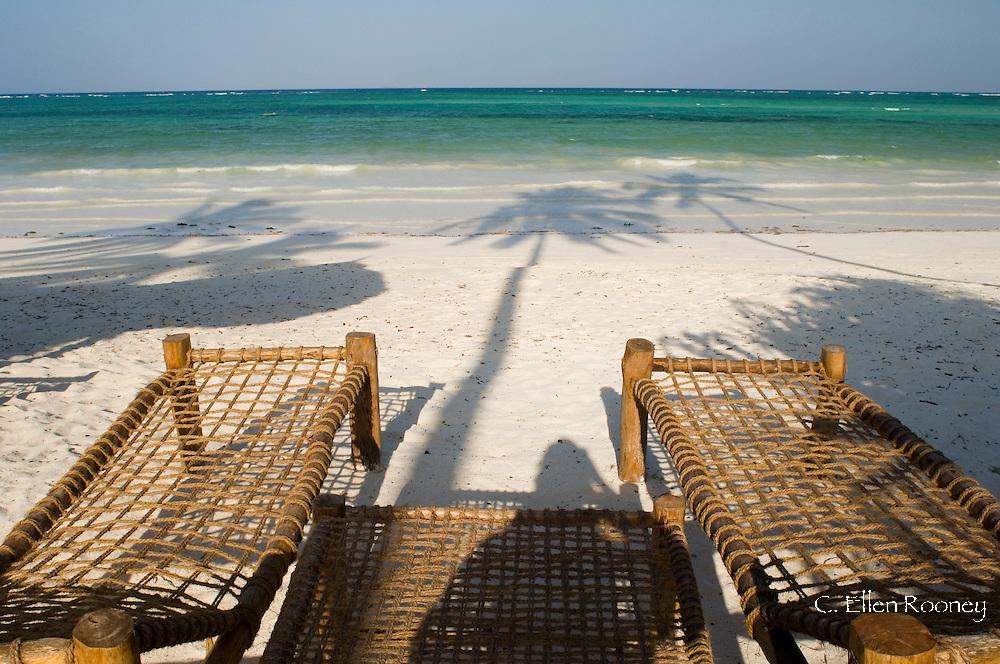 Sunbeds made from coconut wood and coir on Kiwengwa Beach.  Zanzibar, Tanzania
