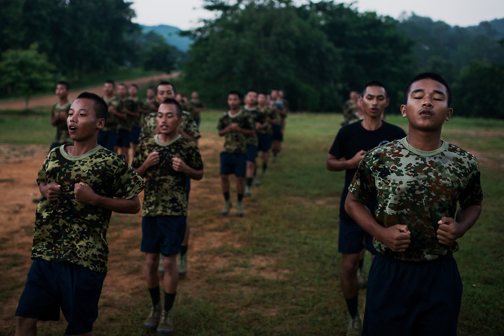 Laiza 20160915<br /> Recruits of the KIA National Service during daily morning exercise in Laiza, the KIA headquarters in Kachin State, Myanmar.<br /> Photo: Vilhelm Stokstad / Kontinent
