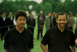 Left to right, HRH PRINCE JEFRI BOLKIAH and his brother HM THE SULTAN OF BRUNEI, at a polo match in Cirencester on 24th June 1997.LZP 73