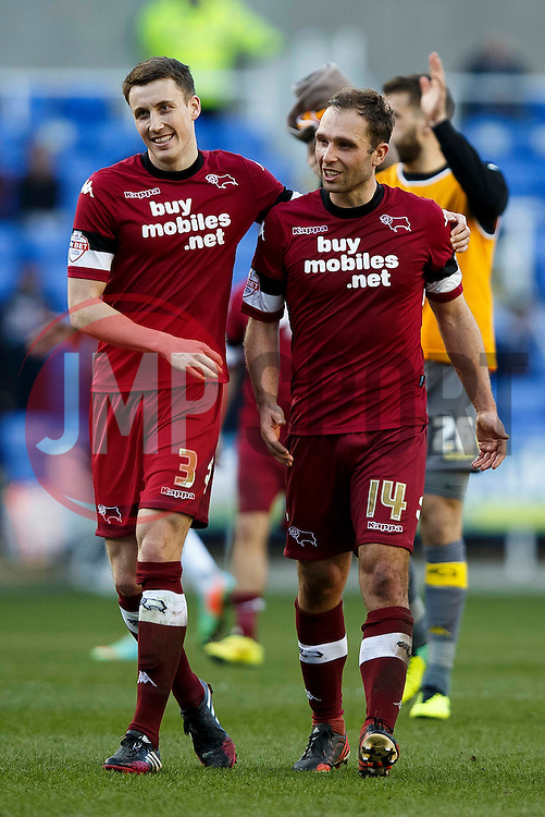 Derby Midfielder Craig Forsyth (SCO) and Midfielder John Eustace (ENG) leave the field after a 0-0 draw - Photo mandatory by-line: Rogan Thompson/JMP - 07966 386802 - 15/09/2014 - SPORT - FOOTBALL - Madejski Stadium - Reading - Reading v Derby County - Sky Bet Football League Championship.
