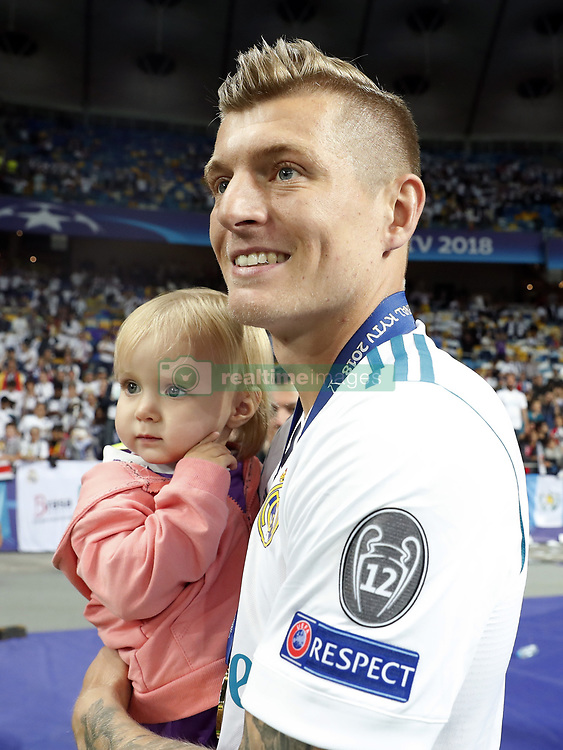 Toni Kroos of Real Madrid with his daughter Amelie during the UEFA Champions League final between Real Madrid and Liverpool on May 26, 2018 at NSC Olimpiyskiy Stadium in Kyiv, Ukraine