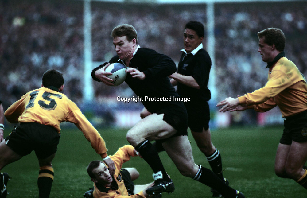 John Kirwan in action during the Rugby Union World Cup match between the All Blacks and Australia, 1991.  PHOTO: Andrew Cornag/PHOTOSPORT