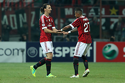 23.11.2011, Giuseppe Meazza Stadion, Mailand, ITA, UEFA CL, Gruppe H, AC Mailand (ITA) vs FC Barcelona (ESP), im Bild Esultanza Zlatan Ibrahimovic Kevin Boateng Milan, Celebration // during the football match of UEFA Champions league, group H, between Gruppe H, AC Mailand (ITA) and FC Barcelona (ESP) at Giuseppe Meazza Stadium, Milan, Italy on 2011/11/23. EXPA Pictures © 2011, PhotoCredit: EXPA/ Insidefoto/ Paolo Nucci..***** ATTENTION - for AUT, SLO, CRO, SRB, SUI and SWE only *****