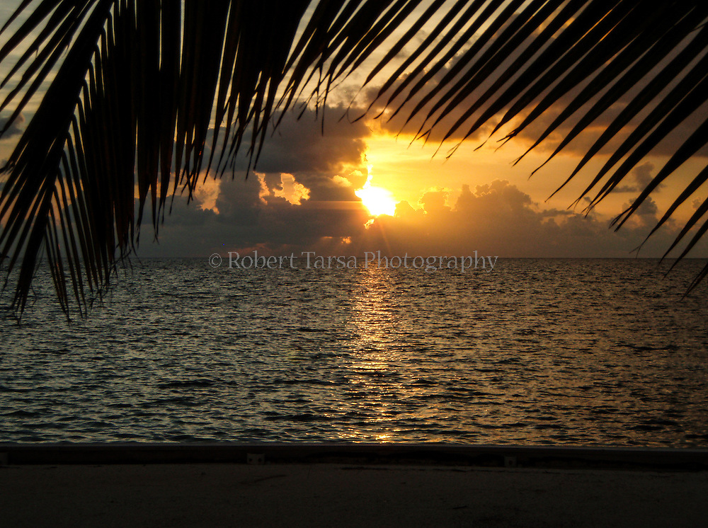 Sunrise over the Belize coastline.