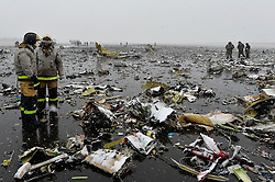 Rescuers work at the crash site of the Boeing 737-800 Flight FZ981 operated by Dubai-based budget carrier Flydubai, at the airport of Rostov-On-Don, Russia, on March 19, 2016. One of the two flight recorders of the Flydubai Boeing 737-800 airliner was found at the crash site at the Rostov-on-Don airport in Russia's southwest Rostov region, and the search for the second one is ongoing, the RIA Novosti news agency reported. EXPA Pictures © 2016, PhotoCredit: EXPA/ Photoshot/ RIA Novosti<br /> <br /> *****ATTENTION - for AUT, SLO, CRO, SRB, BIH, MAZ, SUI only*****