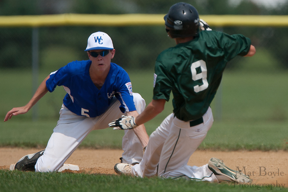 West Deptford's Chris Dillaquilla steals second as Waldo County Maine's Cody Varney loses the ball in the 2nd inning during a elimination bracket game of the Eastern Regional Senior League tournament held in West Deptford on Sunday, August 7.