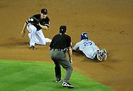 Aug. 6 2011; Phoenix, AZ, USA; Los Angeles Dodgers outfielder Matt Kemp (27) is caught stealing by Arizona Diamondbacks second basemen Kelly Johnson (2) during the second inning against the Arizona Diamondbacks at Chase Field.  Mandatory Credit: Jennifer Stewart-US PRESSWIRE