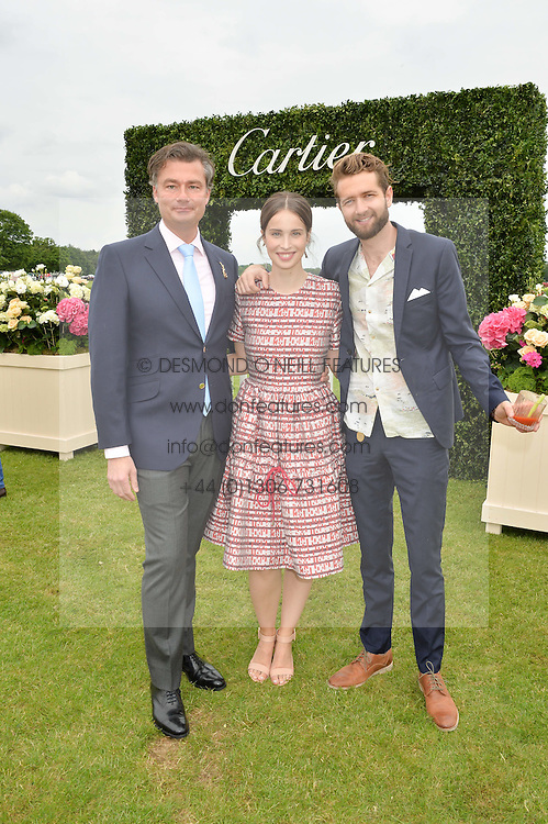 Left to right, LAURENT FENIOU, HEIDA REED and SAM RITZENBERG at the Cartier Queen's Cup Final 2016 held at Guards Polo Club, Smiths Lawn, Windsor Great Park, Egham, Surry on 11th June 2016.
