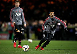 Manchester United's Alexis Sanchez during warm-up before the Emirates FA Cup, fourth round match at Huish Park, Yeovil.