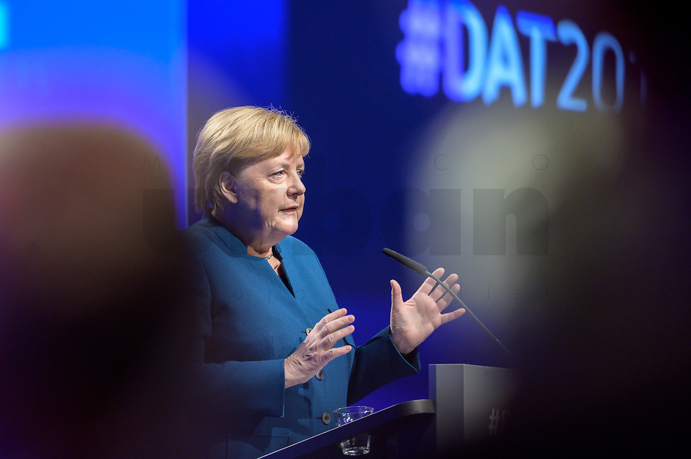 12 NOV 2019, BERLIN/GERMANY:<br /> Angela Merkel, CDU, Bundeskanzlerin, haelt eine Rede, Deutscher Arbeitgebertag 2019, Bundesverband Deutscher Arbeitgeber, BDA, Estrell Convention Center<br /> IMAGE: 20191112-01-174