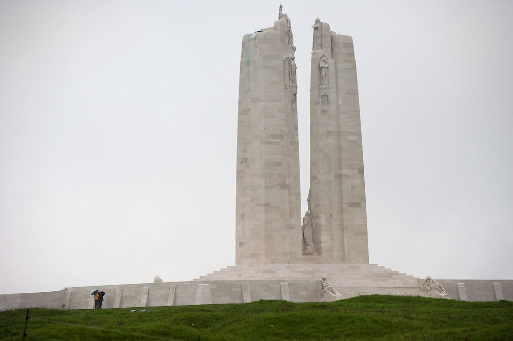 The twin white pylons of the ‪Canadian National Vimy Memorial‬ dedicated to the memory of Canadian Expeditionary Force members killed in World War one. The monument is situated at a 100 hectare preserved battlefield with wartime tunnels, trenches, craters and unexploded munitions. The memorial designed by Walter Seymour Allward opened in 1936.