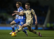 Charlie Taylor, Leeds United defender during the Sky Bet Championship match between Brighton and Hove Albion and Leeds United at the American Express Community Stadium, Brighton and Hove, England on 24 February 2015.