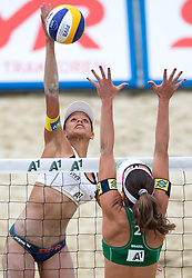 30.07.2014, Strandbad, Klagenfurt, AUT, FIVT, A1 Beachvolleyball Grand Slam 2014, Hauptrunde, im Bild Lisa Chukwuma (AUT) gegen Liliane Maestrini (BRA) // during Main Draw Match of the A1 Beachvolleyball Grand Slam at the Strandbad Klagenfurt, Austria on 2014/07/30. EXPA Pictures © 2014, EXPA Pictures © 2014, PhotoCredit: EXPA/ Johann Groder