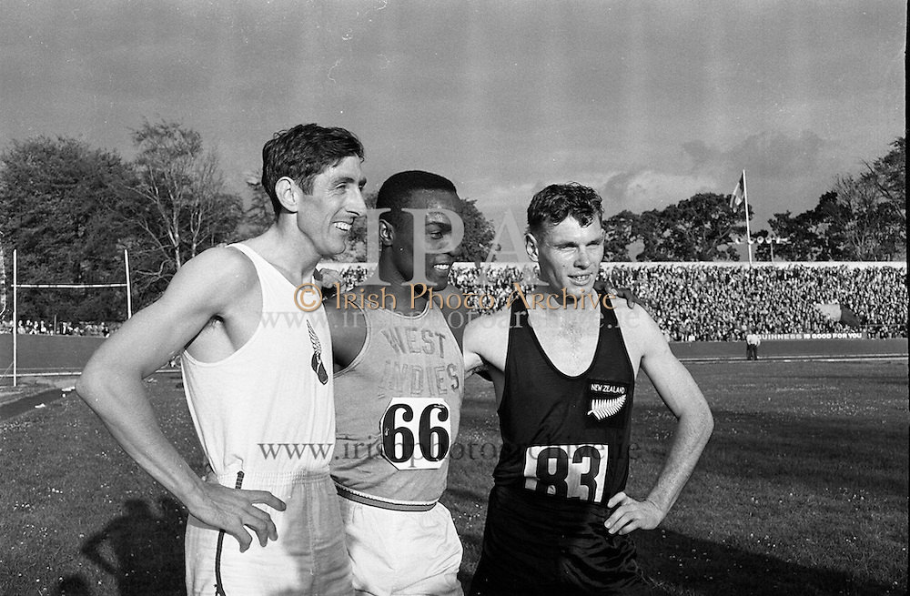 Olympic Gold medallist Ronnie Delany takes part in the athletic meet in Santry stadium.<br /> 17.07.1961