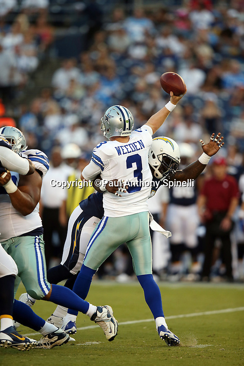Dallas Cowboys quarterback Brandon Weeden (3) releases a pass as he gets hit by San Diego Chargers outside linebacker Melvin Ingram (54) during the 2015 NFL preseason football game against the San Diego Chargers on Thursday, Aug. 13, 2015 in San Diego. The Chargers won the game 17-7. (©Paul Anthony Spinelli)