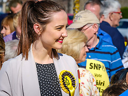 Nicola Sturgeon, Scotland's First Minister joins SNP candidate Mairi McCallan on the campaign trail in Biggar, South Lanarkshire.  Pictured SNP candidate Mairi McCallan.<br /> <br /> (c) Andrew Wilson   Edinburgh Elite media