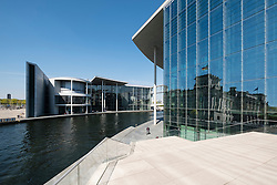 View of Paul Lobe Haus and Marie Elisabeth Luders ( Lueders) Haus government buildings beside River Spree in Berlin Germany