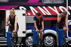 Alice Barnes (GBR), Kasia Niewiadoma (POL) and Alexis Ryan (USA) warm up for Ladies Tour of Norway 2018 Team Time Trial, a 24 km team time trial from Aremark to Halden, Norway on August 16, 2018. Photo by Sean Robinson/velofocus.com