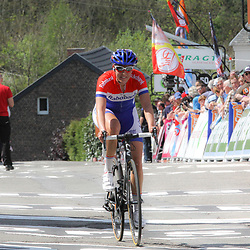 CYCLING, Huy (Belgium): The fourth race in de UCI womens worldcup Fleche Walonne. Lucinda Brad at finishline