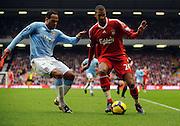 David Ngog (Liverpool) & Joleon Lescott (Manchester City) during the Barclays Premier League match between Liverpool and Manchester City at Anfield - 21/11/09
