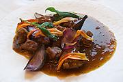 Neufelden, Austria. The gourmet restaurant at Genießerhotel Mühltalhof. Rehragout, Ofenzwiebel - Taglilien - Spätzle (Deer Ragout, Oven Onions - Daylillies - Spaetzle).